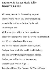 My Favorite Rilke poem via the LA Times.