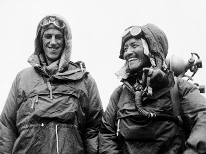 Sardar Tenzing Norgay, right, of Nepal and Edmund P. Hillary of New Zealand, left, show the kit they wore when conquering the world's highest peak, the Mount Everest, on May 29, at the British Embassy in Katmandu, capital of Nepal, on June 26, 1953. Edmund Hillary, with Sherpa Tenzing Norgay, reached the 29,035-foot summit of Everest on May 29, 1953, becoming the first person to stand atop the world's highest mountain. Hillary died Jan. 11, 2008 of a heart attack at age 88. (AP Photo)